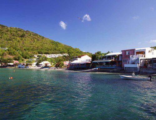 La baie de Deshaies, restaurants, commerces